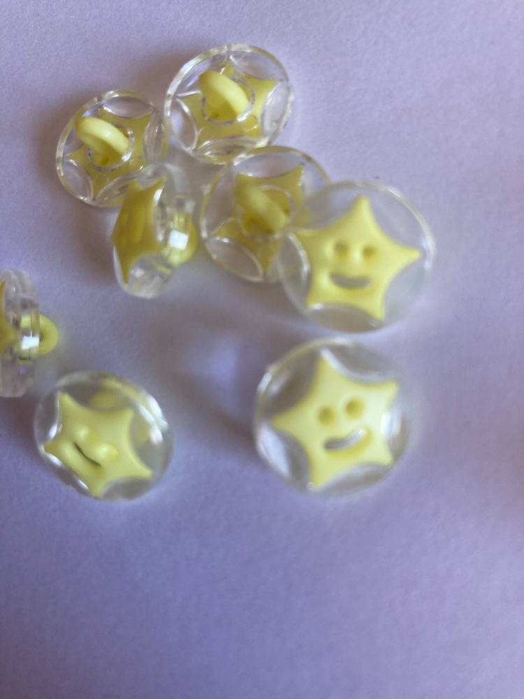 Star Buttons - Clear / Yellow 14mm  Pack of 10