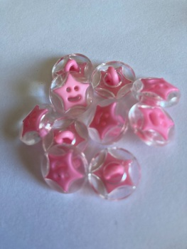 Star Buttons - Clear / Pink 14mm  Pack of 10