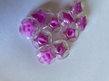 Star Buttons - Clear / Purple  14mm  Pack of 10