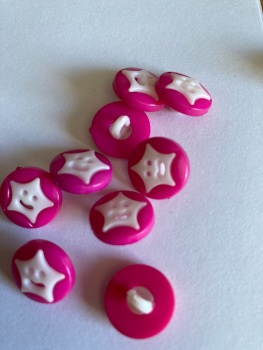 Star Buttons - Pink  / Cerise 14mm  Pack of 10