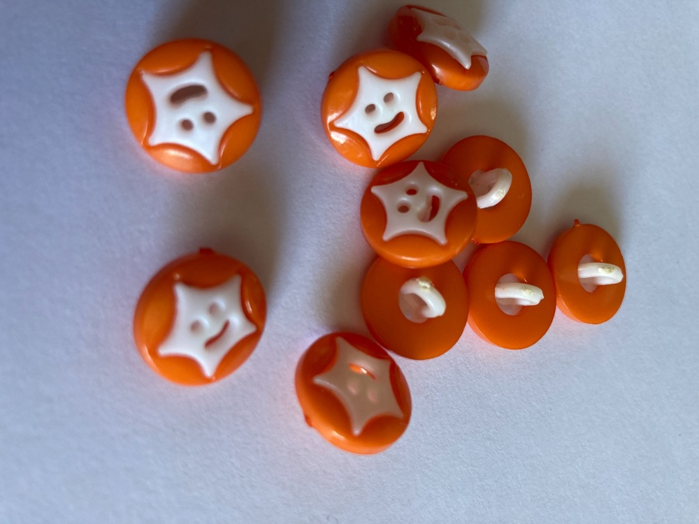 Star Buttons - Orange 14mm  Pack of 10