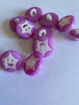 Star Buttons - Purple  14mm  Pack of 10