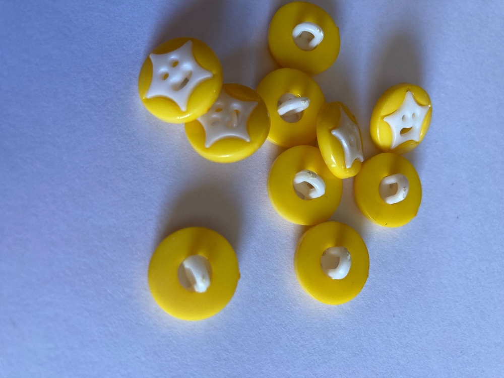 Star Buttons - Yellow  (Darker) 14mm  Pack of 10