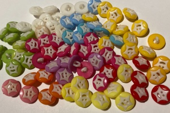 Star Buttons - Mixed - Random Mix  14mm  Pack of 15 ZA03