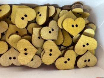 Heart Wooden Button 20mm x 17mm Yellow (Pack of 8)QA04