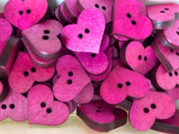 Heart Wooden Button 20mm x 17mm  Pink / Cerise (Pack of 8) QA08
