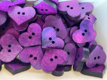 Heart Wooden Button 20mm x 17mm  Purple (Pack of 8) QA06