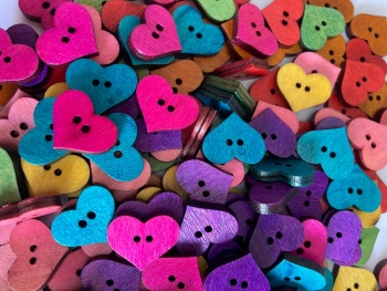 Heart Wooden Button 20mm x 17mm  Random Mix (Pack of  10) QA09