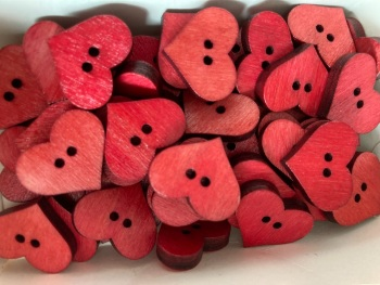 Heart Wooden Button 20mm x 17mm  Red  (Pack of 8) QA07