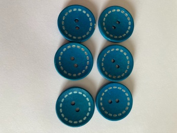 Blue Wooden Button 24mm (Pack of 6) CW03