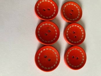 Dark Orange / Red Wooden Button 24mm (Pack of 6) CW01