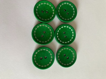 Green Wooden Button 24mm (Pack of 6) CW04