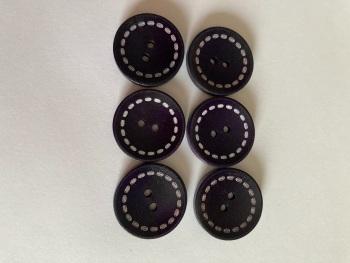 Purple (Dark) Wooden Button 24mm (Pack of 6) CW06
