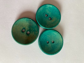 Blue / Teal Wooden Button 25mm (Pack of 6) CW15