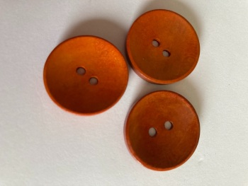 Orange / Brown  Wooden Button 25mm (Pack of 6) CW13