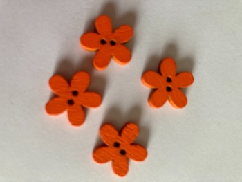 Orange Wooden Flower Button 15mm (Pack of 10) CW19