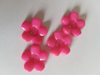 Cerise / Pink Flower Buttons 15mm (Pack of 12)