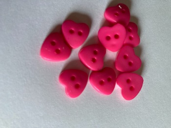 Pink / Cerise Heart Button 13mm (Pack of 12)
