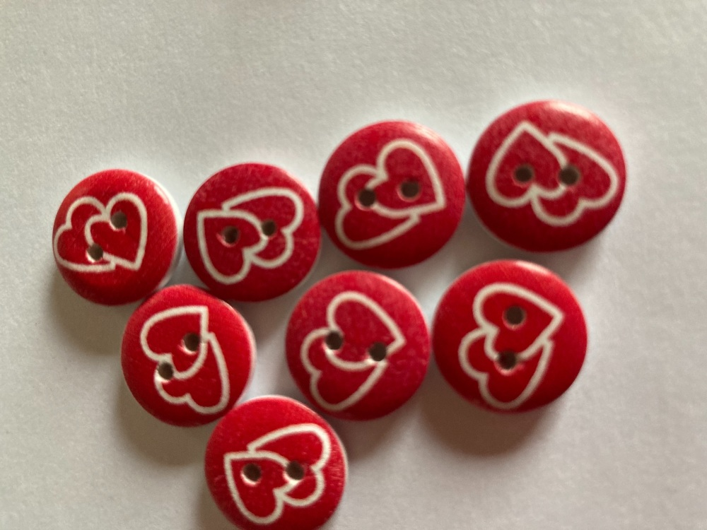 Wooden Heart Buttons 15mm-(Pack of 8) LM06