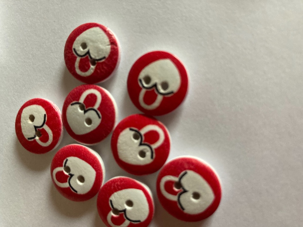 Wooden Heart Buttons 15mm-(Pack of 8) LM08