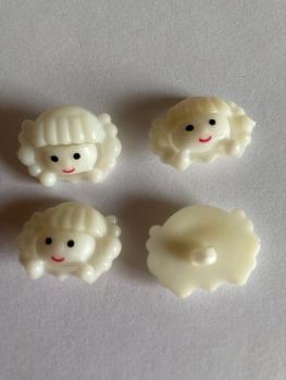 Cream Girls Face Button 22x18mm (Pack of 8)