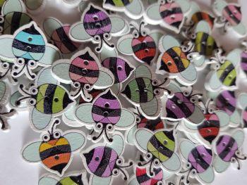 Bee Wooden Buttons 18x20mm- Random Mix Pack of 16 AM70
