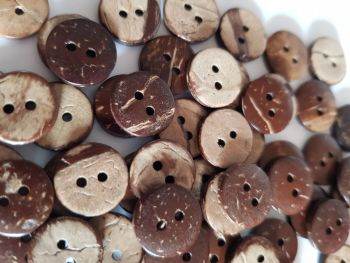Coconut Shell Buttons 13mm(Pack of 15)