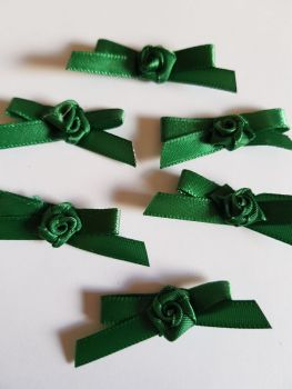 Bottle Green Ribbon with Rose Centre (Pack of 6)