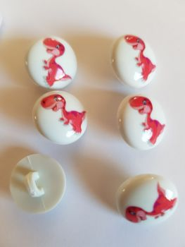 Dinosaur Button 15mm ( Pack of 6) Pink