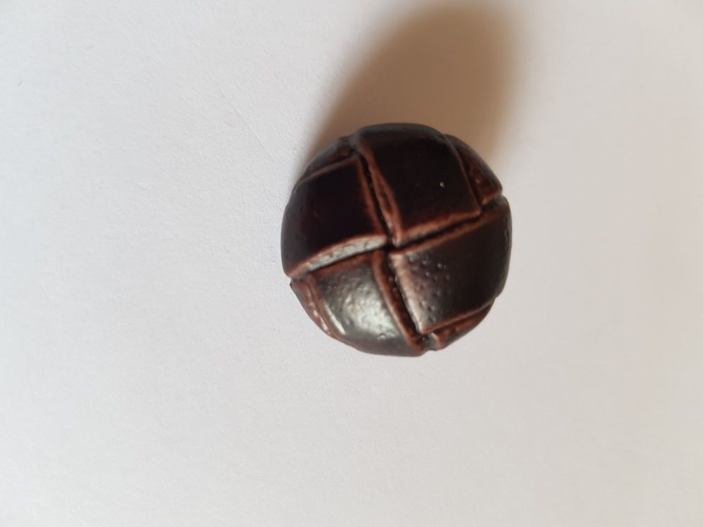 Dark Brown Leather Look Shank Button 20mm (each)