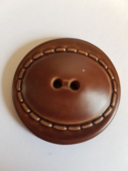 Brown Leather Look Button 35mm (each)