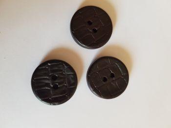 Dark Brown Leather Look Button 19mm (each)