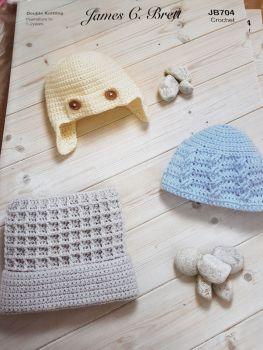 Childrens Crochet Pattern  Hats JB704