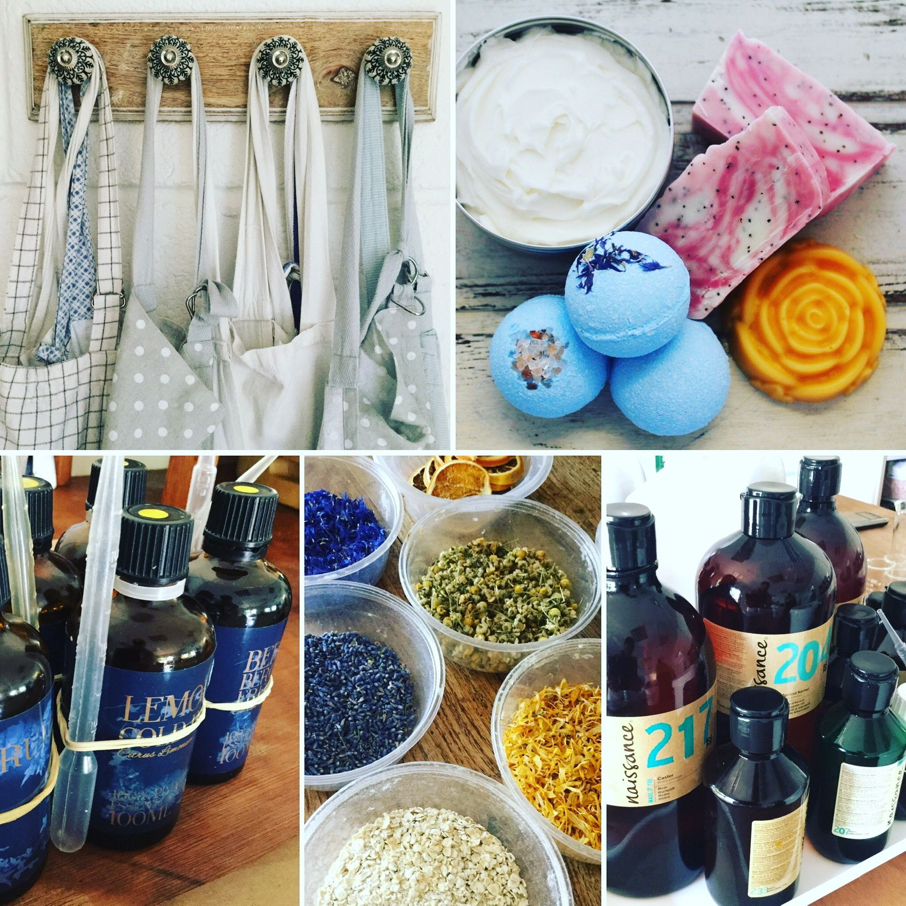 Aprons, bottles and botanicals used to make skincare products