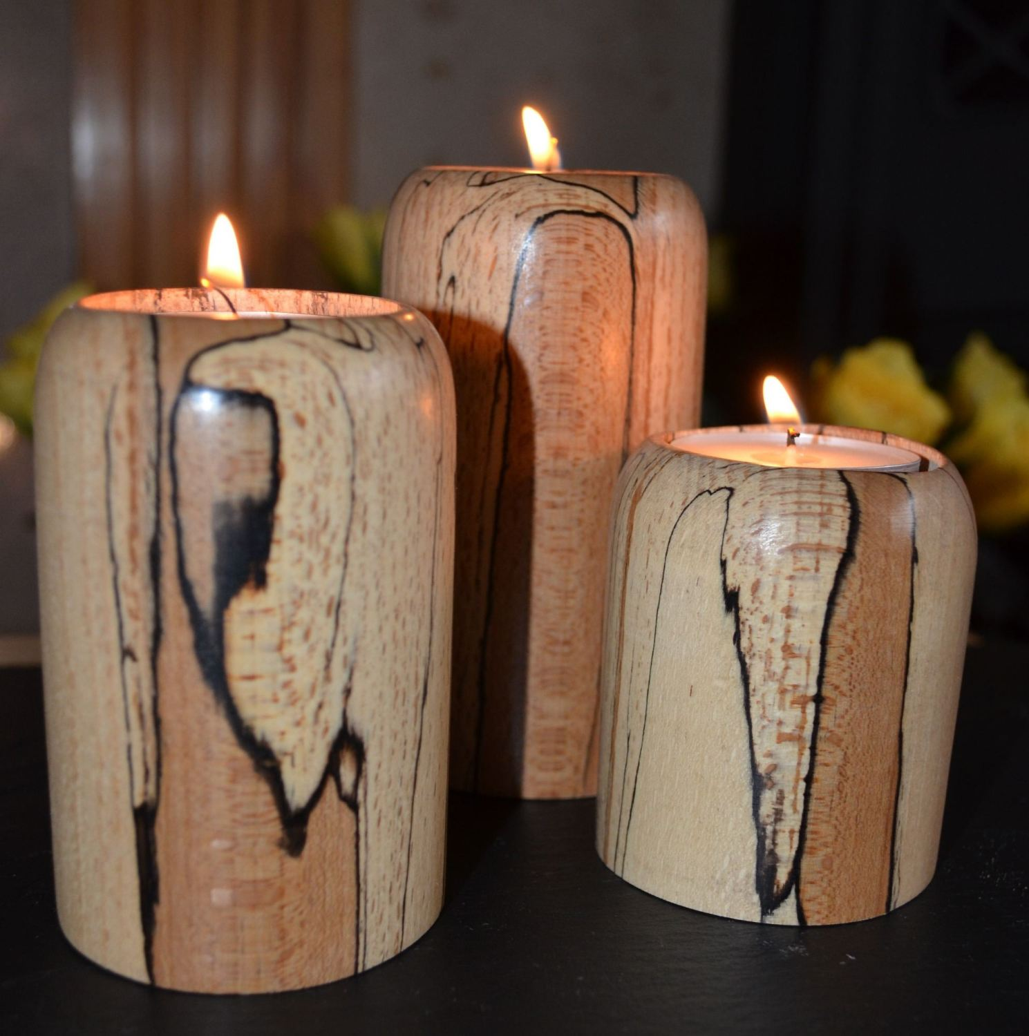 Set Of 3 Wooden Hand Turned Tea Light Candle Holders