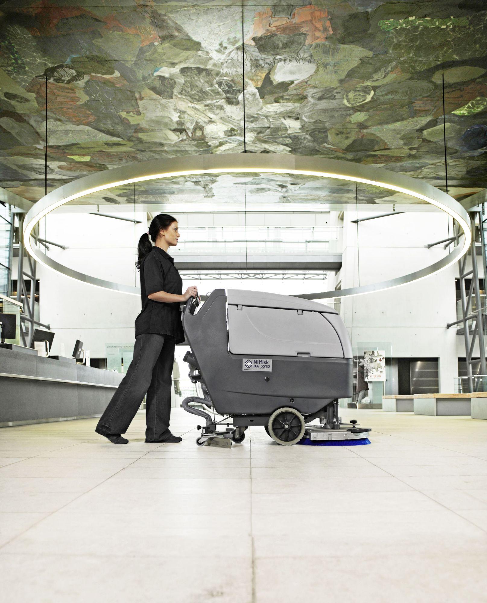 Nilfisk BA551 Scrubber Dryer In Use-min
