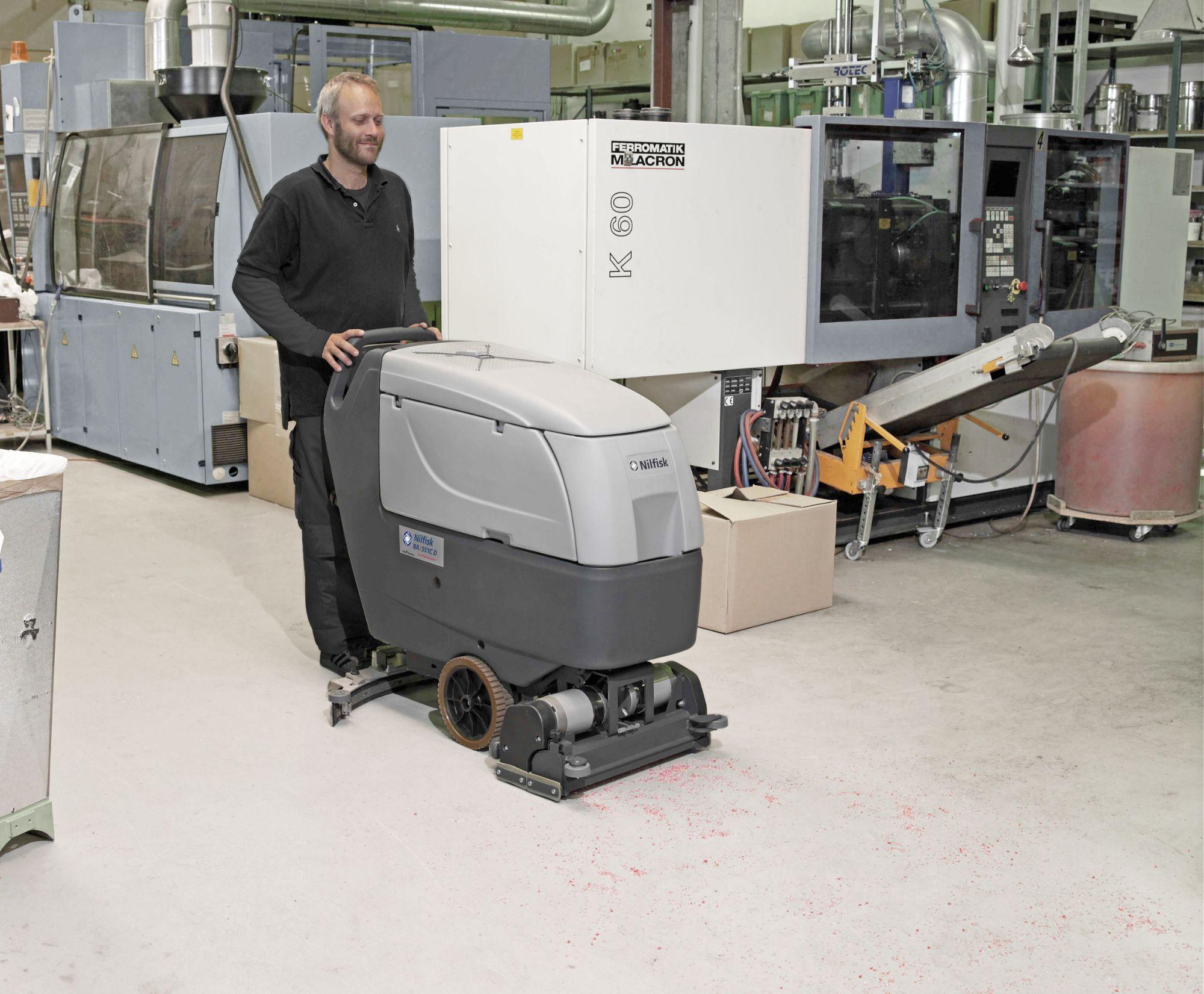 Nilfisk BA551CD Scrubber Dryer In Use-min