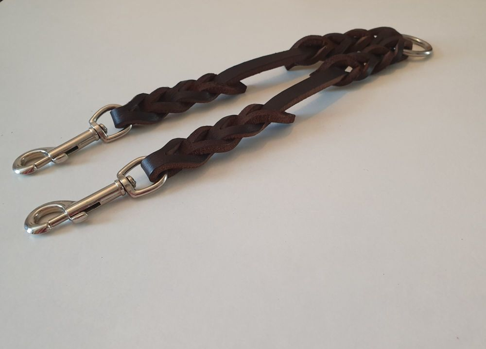 12mm Wide by 40cm Plaited Leather Coupler/Splitter Available in Black or Br