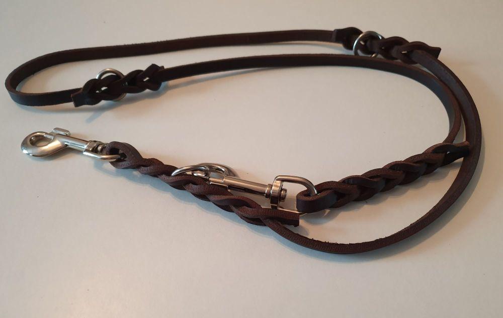 12mm Wide by 160cm (5ft3) Luxury Plaited Leather Adjustable Dog Lead Traini