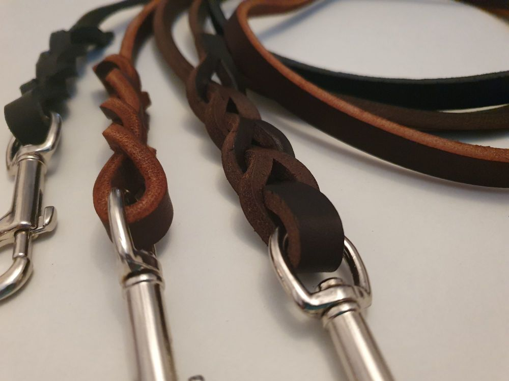 200cm (6ft6) x 12mm (approx 0.5 inch) Wide Plaited Leather Dog Lead VARIOUS
