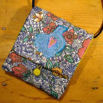 Embroidered applique purse