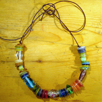 Happy glass bead and button necklet