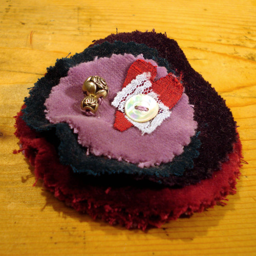 Embroidered velvet brooch