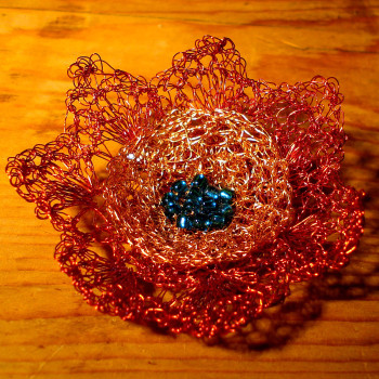 Red-silver flower brooch