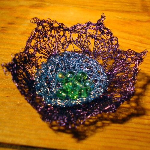 Purple-blue flower brooch