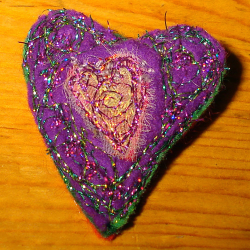 Purple-pink heart brooch
