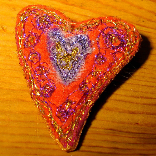 Red-blue heart brooch