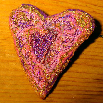 Pink-purple heart brooch