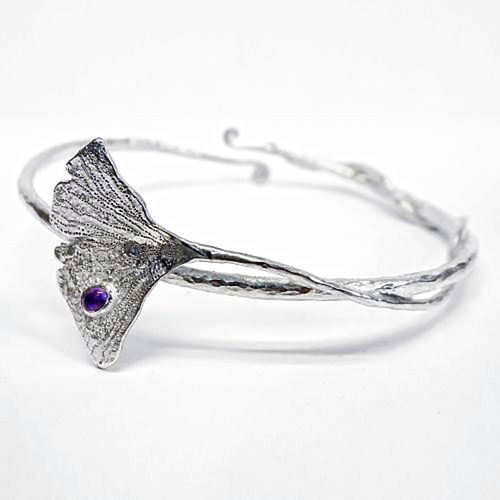 Ginkgo Leaf bracelet with Amethyst