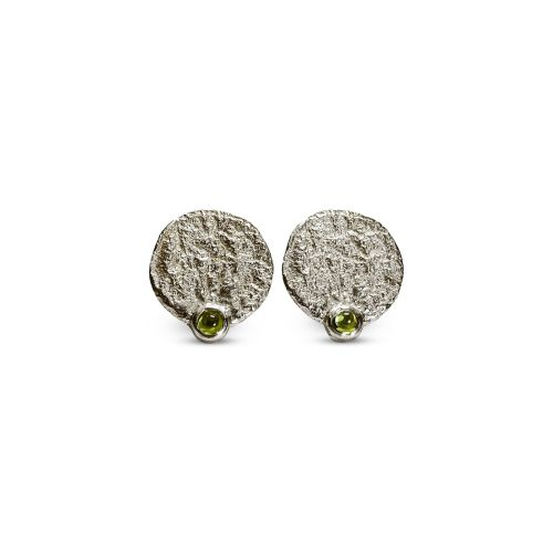Bark dew drop stud earings, Green Tourmaline